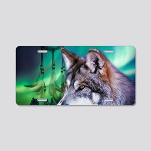 native dream catcher wolf n Aluminum License Plate