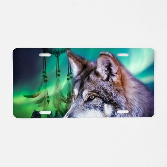native dream catcher wolf n Aluminum License Plate