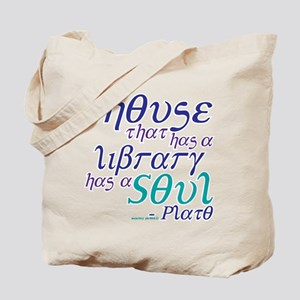 Bookish Plato Library Quote Teal Tote Bag