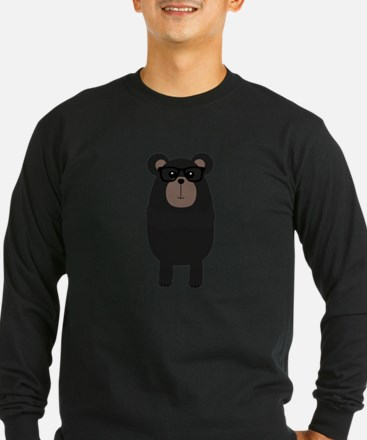 Nerd Black Bear Long Sleeve T-Shirt