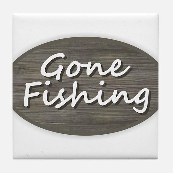 Gone Fishing Tile Coaster