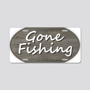 Gone Fishing Aluminum License Plate