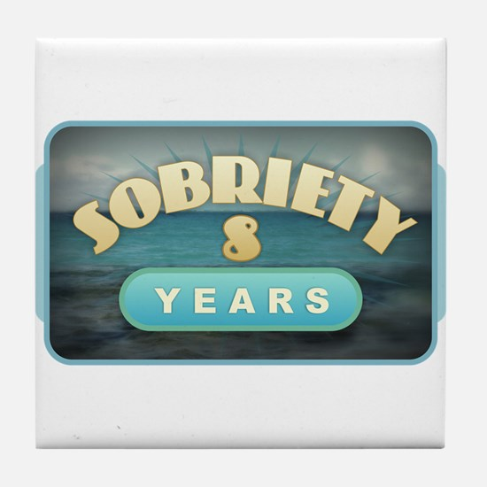 Sober 8 Years - Alcoholics Tile Coaster