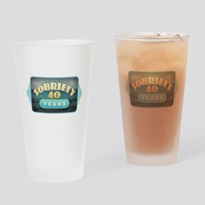 Sober 40 Years - Alcoholics Drinking Glass
