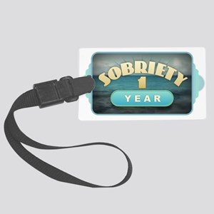 Sober 1 Year - Alcoholics Large Luggage Tag