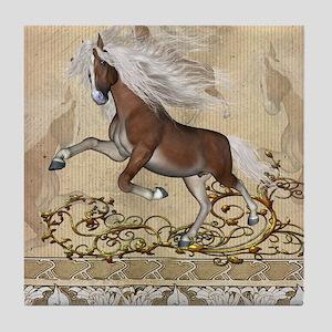 Wonerful wild horse with white mane Tile Coaster