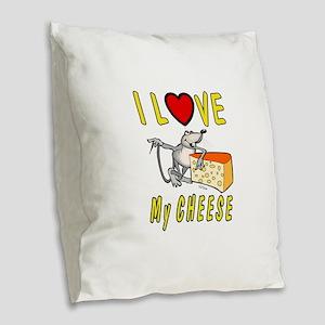 I Love Cheese Burlap Throw Pillow