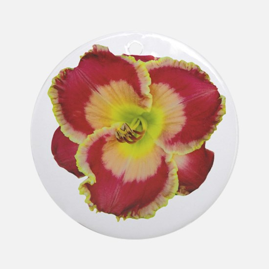 Red w/ Gold Edge Daylily Ornament (Round)