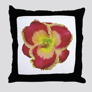 Red w/ Gold Edge Daylily Throw Pillow