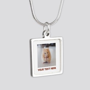 Hamster Personalized Silver Square Necklace