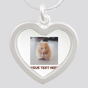 Hamster Personalized Silver Heart Necklace