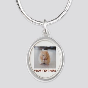 Hamster Personalized Silver Oval Necklace