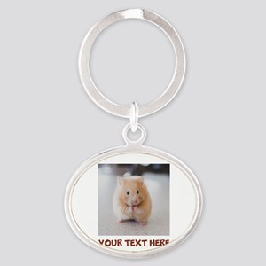 Hamster Personalized Oval Keychain