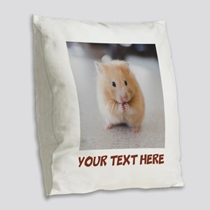 Hamster Personalized Burlap Throw Pillow