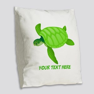 Turtle Personalized Burlap Throw Pillow