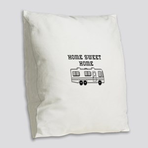 Home Sweet Home Motorhome Burlap Throw Pillow