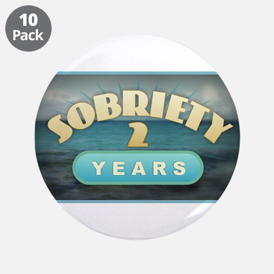 "Sober 2 Years - Alcoholics 3.5"" Button (10 pack)"