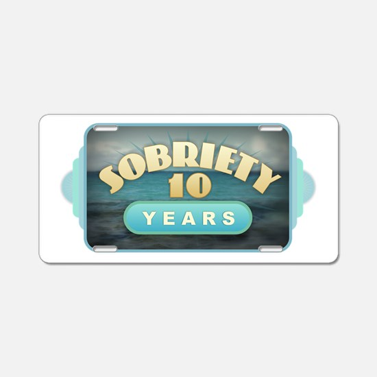 Sober 10 Years - Alcoholics Aluminum License Plate