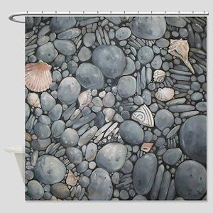 Beach Stones Pebbles Rocks Shower Curtain