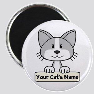 Personalized Gray/White Cat Magnet