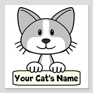 "Personalized Gray/White Square Car Magnet 3"" x 3"""