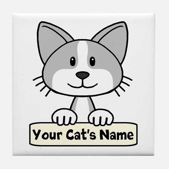 Personalized Gray/White Cat Tile Coaster