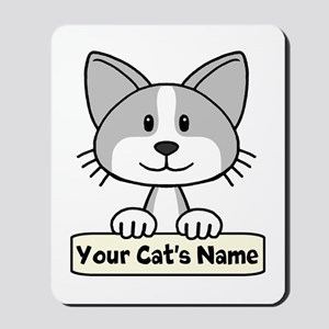 Personalized Gray/White Cat Mousepad