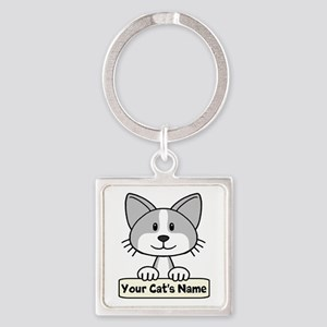 Personalized Gray/White Cat Square Keychain