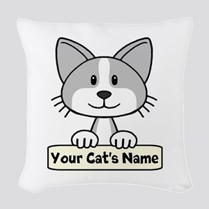 Personalized Gray/White Cat Woven Throw Pillow