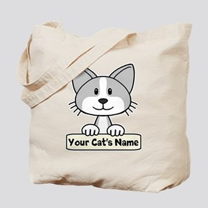Personalized Gray/White Cat Tote Bag