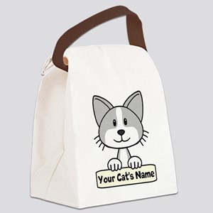Personalized Gray/White Cat Canvas Lunch Bag