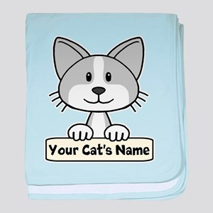 Personalized Gray/White Cat baby blanket