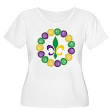 Mardi Gras Fleur De Lis Beads Plus Size T-Shirt