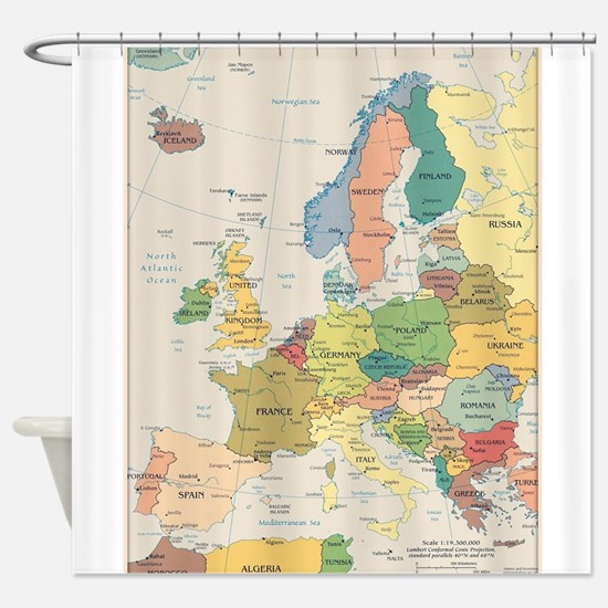 Europe Map Shower Curtain