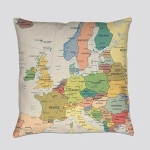 Europe Map Everyday Pillow