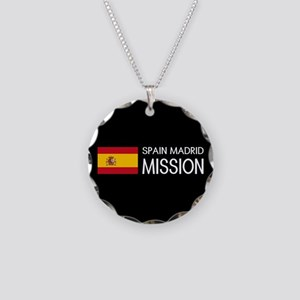 Spain, Madrid Mission (Flag) Necklace Circle Charm