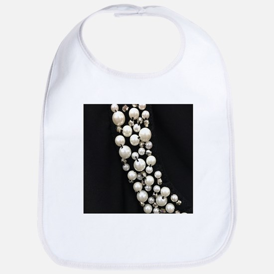 black and white pearl Baby Bib