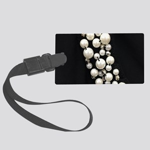 black and white pearl Large Luggage Tag