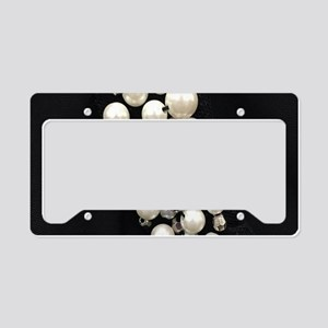 black and white pearl License Plate Holder