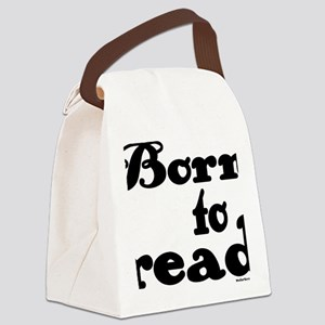 Born to Read Swirly Girly Type Bl Canvas Lunch Bag