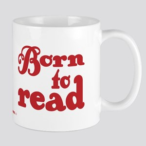 Born to Read Swirly Girly Type Red Mugs