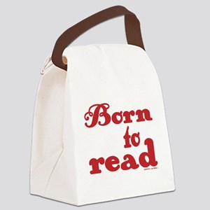 Born to Read Swirly Girly Type Re Canvas Lunch Bag