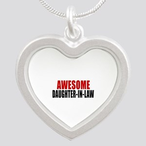 Awesome Daughter-in-law Silver Heart Necklace