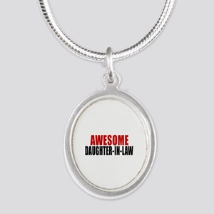 Awesome Daughter-in-law Silver Oval Necklace