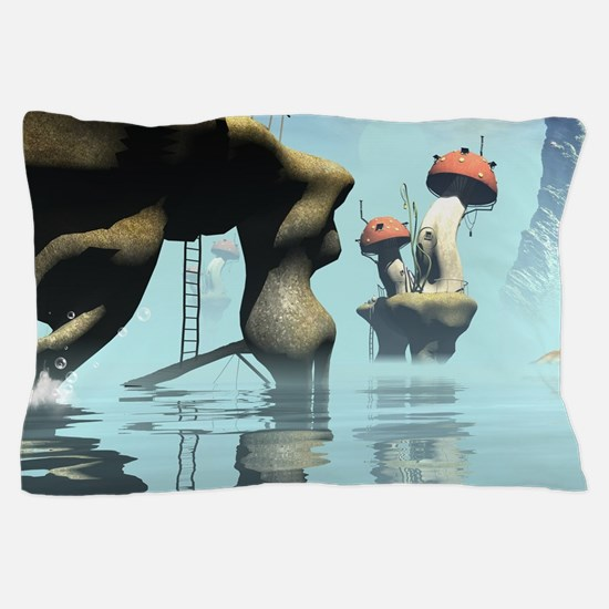 Magical seascape with houses, mushrooms Pillow Cas