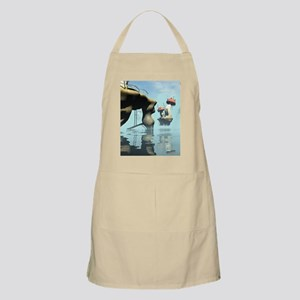 Magical seascape with houses, mushrooms Apron