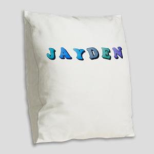 Jayden (Colored Letters) Burlap Throw Pillow
