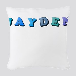 Jayden (Colored Letters) Woven Throw Pillow