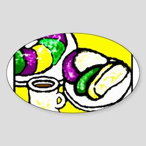 King Cake Oval Sticker