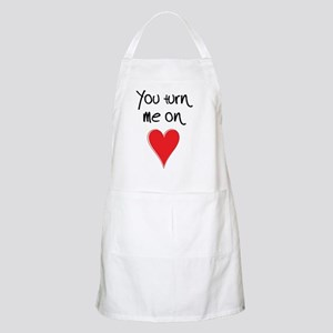 You Turn Me On - Heart and Typography Apron